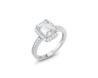 Cubic Zirconia Emerald Cut Halo Ring