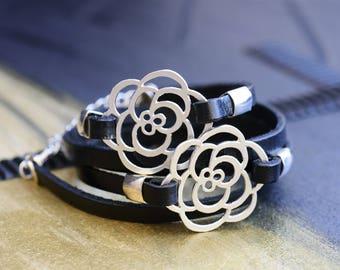 Silver wrap bracelet, Silver leather bracelet, Black and silver bracelet, Black and silver bracelet women, Black bracelet for women
