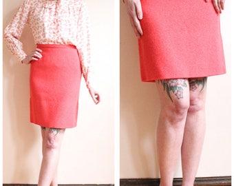 1960s Skirt // Jantzen Coral Wool Skirt // vintage 60s skirt
