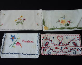 Four French vintage handmade napkin holders / gift envelopes with minor imperfections (04929)