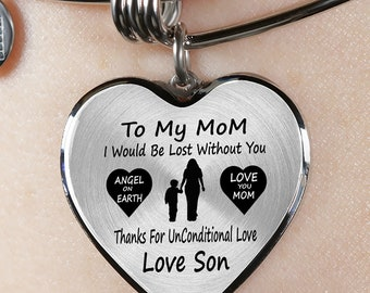 Mom Thanks For Unconditional Love Bangle Mothers Day Gift for Son