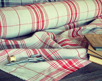 Heavy weight 100% linen fabric by the half meter - 290 gsm linen - A-032 red / natural linen - Softened thick linen fabric