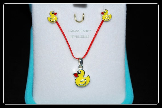 Set Duck Enamel Necklace Earrings Sterling Silver White Gold plated Lakasa e-shop Jewelry gifts kids best ideas girl school moda collection