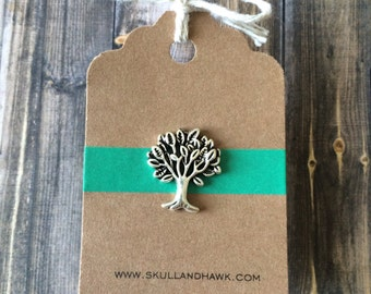 Tree Tie Tack / Lapel Pin - Antique Silver Tone Metal - Tree of Life - Giving Tree - Tack Backing with Clutch Clasp