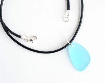 Aqua blue sea glass necklace, blue sea glass, aquamarine blue beach necklace, cultured sea glass, leather necklace, beach glass jewelry