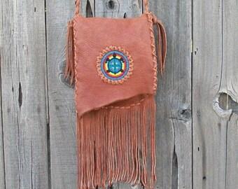 Crossbody bag with beaded turtle totem , Fringed leather handbag , Leather purse with fringe , Leather handbag with fringe