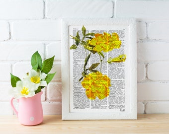 Book print  Bignonia flower Botanical studio print on Vintage Dictionary Book art BFL055