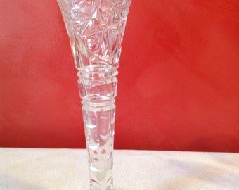 Cut glass bud vase