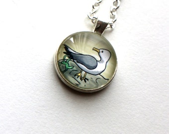 The Seagull Pendant - Art Jewellery - Nautical Beach Bird Silver Plated Illustration Gift Necklace