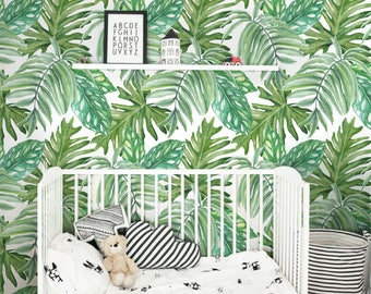 Monstera leaves Pattern Wallpaper, Removable Wallpaper, Monstera leaves Wallpaper, Exotic Wall Sticker, Tropical Wallpaper, Wall mural, 102