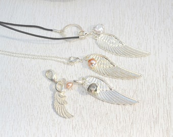 Silver Angel Wing Necklace, Gift for Mom, Memorial Necklace Gift for Her - A Piece Of My Heart Is In Heaven,  Child Loss Guardian Angel Gift