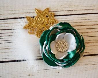 Handcrafted Saint Patricks Day Hair Clip - Emerald Green White Gold - Irish Hair Clip - Rhinestone St Patricks Bow - Vintage Style Bows