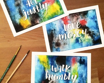 """Micah 6:8 Act Justly, Love Mercy, Walk Humbly - Trio of 5x7"""" Watercolor Art Prints, Handlettering, Scripture Art"""
