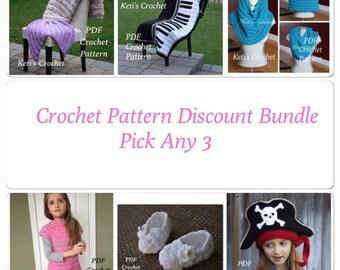 Pick Any 3 Crochet Patterns,Pattern Value Bundle,Crochet Pattern Discount,Designer Pattern Discount,Pattern Discount Package,Pattern Bundle