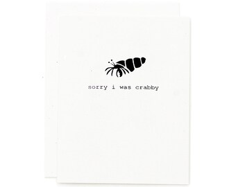 Sorry Card / Apology Card / Funny Cards / I'm Sorry Card / Cute Cards / Hermit Crab / Funny Cards for Boyfriend