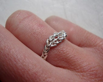 Womens braided sterling silver ring