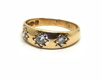 "Antique Vintage Victorian Old Cut Diamond 3 Stone Victorian 18ct Gold Ring ""Chester Hallmarked 1897"" Size M(USA 6 1/4) *Free Shipping"