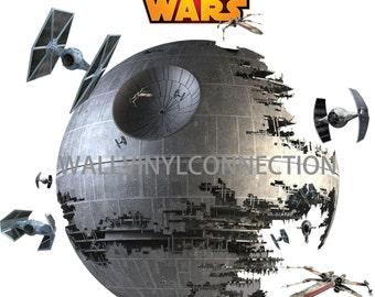 Death Star Wall  Art Decor, Star Wars, Star Wars Decal, Star Wars Death Star Decal, Death Star Mural, Star Wars Kid's Room, Best gift ever
