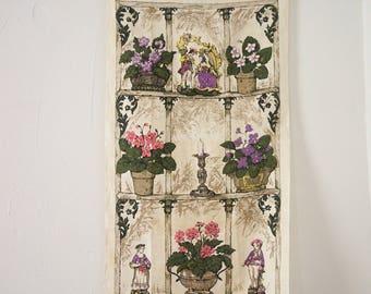 Vintage Linen African Violets Dish Towel