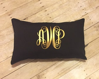 Monogram Pillow - Monogrammed Throw Pillow - Rectangle Throw Pillow - Personalized Decorative Pillow - Graduation Gift - 10x20 Oblong Pillow