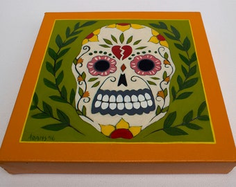 Original Acrylic Folk Art Scull Painting - Día de Muertos - Wall Art Home Decor by Tamara Adams