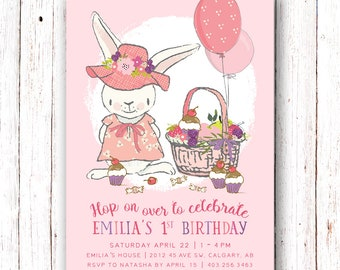 Bunny Birthday Invitation, Picnic Birthday Invitation, Bunny Invitation, Spring Birthday Invitation, Bunny Birthday Invitation, Park Invite