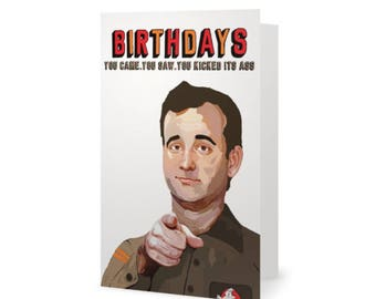 Bill Murray Ghostbusters Birthday Card (Life Aquatic with Steve Zissou, Lost in Translation, Groundhog Day, Caddyshack,  Rushmore)