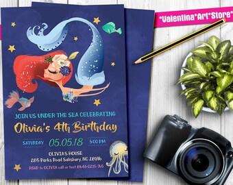 Mermaid Invitation, Mermaid Birthday Invitation, Mermaid Pool Party Invitation, Mermaid Party Gold Sparkle, Under The Sea Invitation