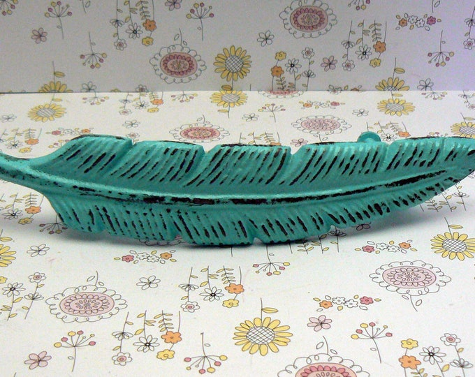 Feather Bohemian Turquoise Aqua Blue Handle Cast Iron Shabby Chic Cabinet Drawer Pull