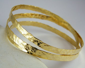 Wide Hammered Gold bangle handmade chunky bangle