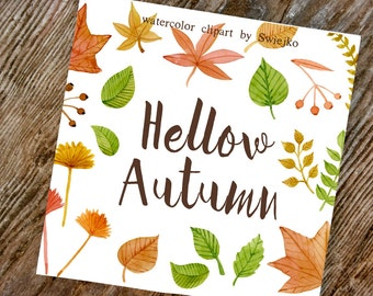 Digital Clipart, Autumn Clip Art, Watercolor Fall Foliage, Leaves,