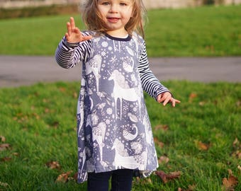 Long Sleeve Unicorn Dress - Toddlers Clothes, Dress, Unicorn, Girls Dress, Girls Unicorn Dress