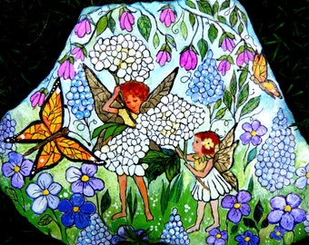 Hand Painted Sister Fairies Garden Rock - by nancymaggielee