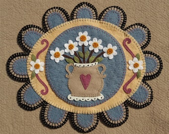 NEW*** He Loves Me, Wool Applique Kit, Wool Applique, Penny Rug Kit, Candle Mat Kit, Daisies Applique Kit, Embroidery Kit