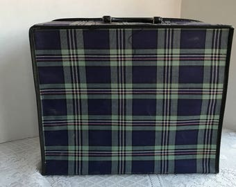 Vintage Suitcase / Plaid Pattern Blue and Green Travel Bag with Zipper