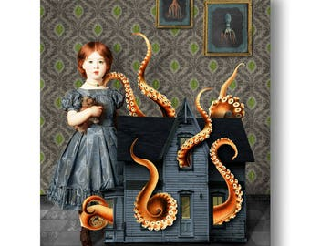 Dollhouse Octopus Nautical Portrait Print Digital Art Surreal Home Decor Beach House Squid Lovecraft Blue Orange Green