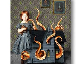Puppenhaus Octopus nautischen Portrait drucken digitale Kunst Surreal Home Decor Strand Haus Tintenfisch Lovecraft Blau Orange Grün