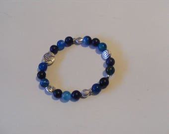 Bracelet Lapis and blue agate strips stretchy