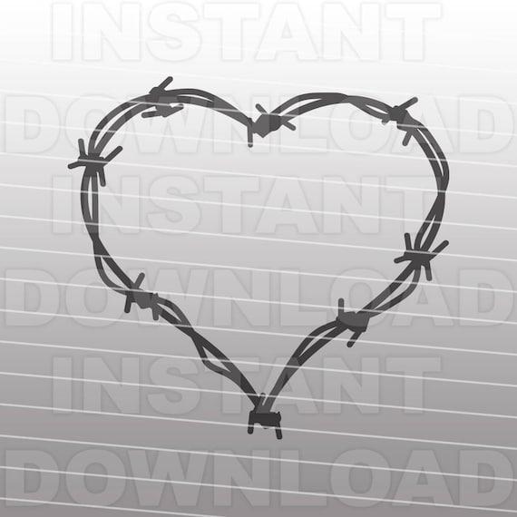 Barbed Wire Heart Monogram Frame SVG File,Western SVG -Commercial ...