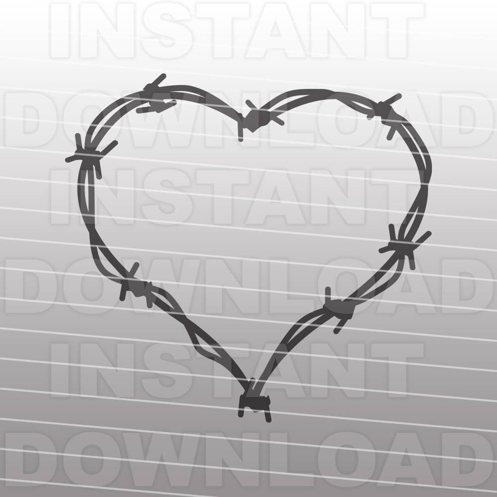 Barbed Wire Heart Monogram Frame SVG FileWestern SVG