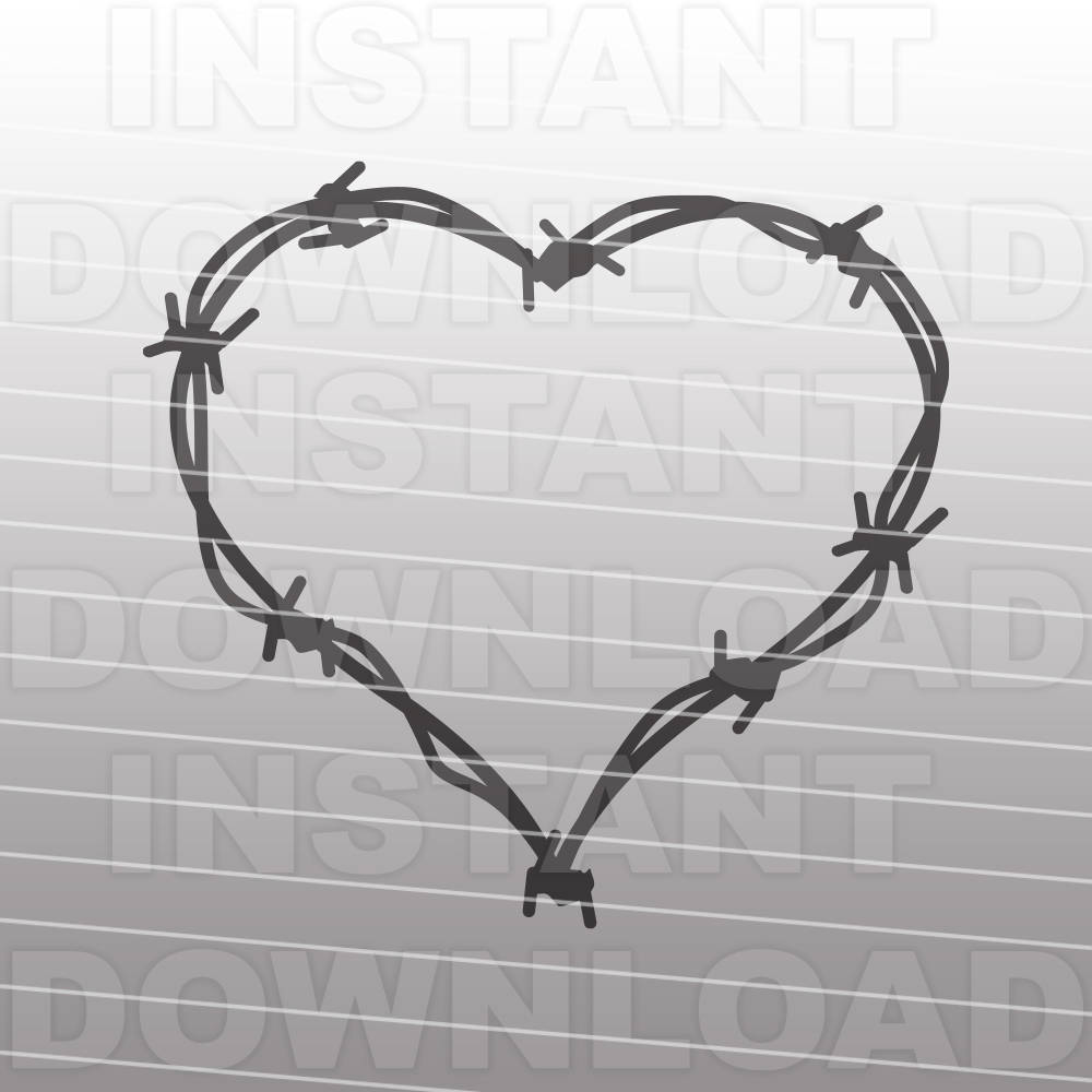 Barbed Wire Heart Monogram Frame SVG File,Western SVG -Commercial ...