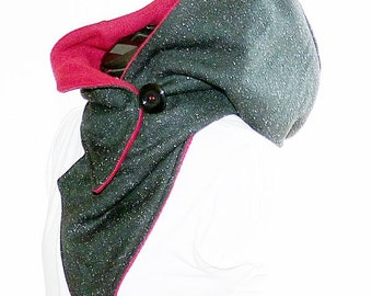 Hooded scarf black mottled - bordeaux