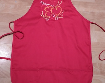 Kitchen Apron Hearts Red Valentine's Day Apron for Women 3 pockets Customizable Gift for Cook Baker Orange Yellow White Gift for Wife