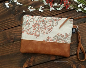 Grab N Go Wristlet Clutch - Mandala Paisley in Coral with Vegan Leather