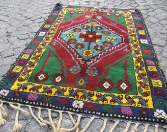 turkish rug vintage, turkish oushak rug, beni ourain, area rug, small rug, 389