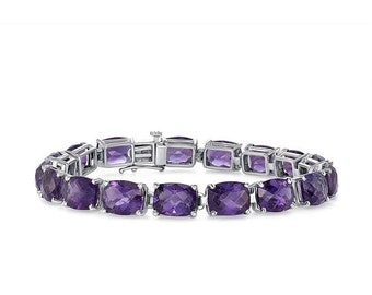36.2 Carat Elongated Cushion Amethyst Chain Bracelet -14K White Gold 7 inches by Luxinelle