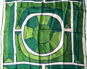 Vintage 1960s Vera Neumann Geometric Green and White Mod Op Art Abstract Scarf/Classic and Collectible/Frameworthy