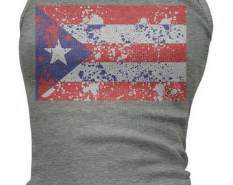 Puerto Rican Paint Splatter Flag Ladies Juniors Tank Top, PR Flag, Puerto Rico Pride, Ladies Juniors Puerto Rico Soccer Tank Tops AMD_1399