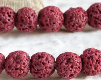 25%OFF Dark Red Lava rock Beads 10mm Round diffuser beads Organic Volcanic dyed Stone Chakra Healing gemstone semiprecious bead