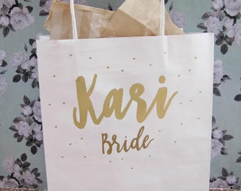 Custom bachelorette party bags, custom gift bags, bridal party bags, name gift bags, wedding favor bags, party favor bags